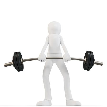 apalancamiento: 3d hombre fácil de levantar objetos pesados ??con barra en el fondo blanco Foto de archivo