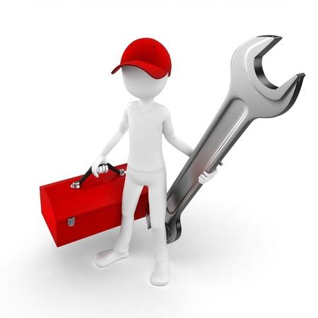 Ingeniero de hombre 3D con herramientas y llave en blanco