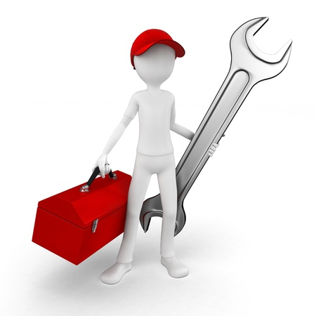 construction worker cartoon: 3d man engineer with toolbox and wrench on white Stock Photo
