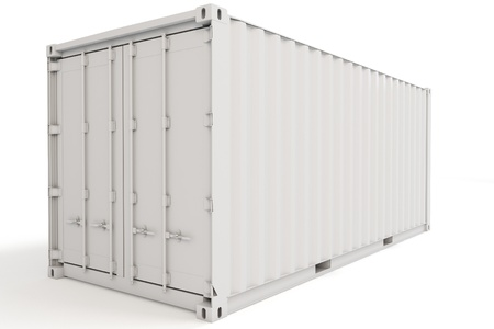 3d cargo container blank on white background Stock Photo