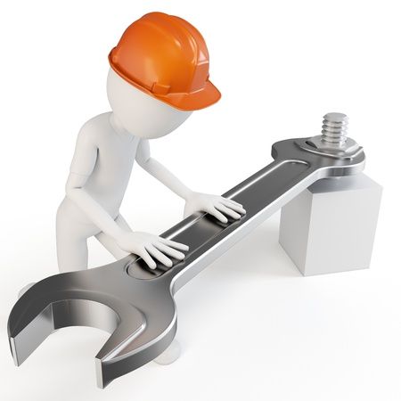 3d man with fork spanner tightening a nut on white background Stock Photo - 10463856