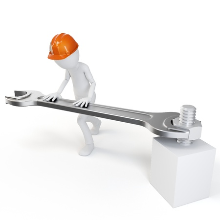 maintenance man: 3d man with fork spanner tightening a nut on white background