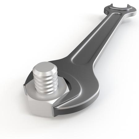 tornillos: tornillos de tuerca y llave de horquilla 3d sobre fondo blanco