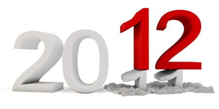 3d Happy New Year 2012  on white background photo
