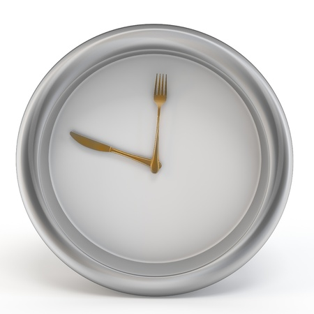 3d meal time clock with knife and fork on white background photo