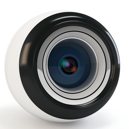 3d modern eye camera on white background photo