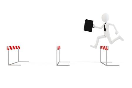 h�rde: 3D Gesch�ftsmann mit Hindernisse auf wei�em Hintergrund Lizenzfreie Bilder