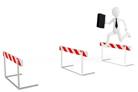 hurdle: 3d business man with running obstacles on white background