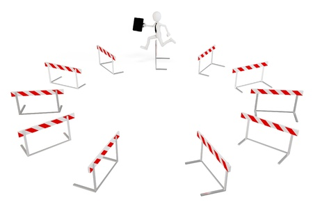 obstacle course: 3d business man with running obstacles on white background