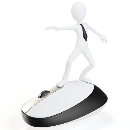 input device: 3d man surfing the web on white background Stock Photo