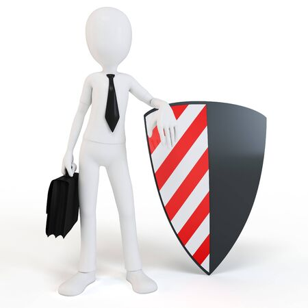 panoply: 3d man businessman with shield on white background Stock Photo