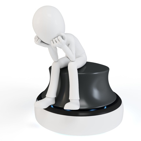 3d man sitting in a thoughtful thinker pose on white background photo