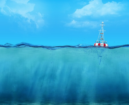 3d buoy floating on the ocean waterline view photo