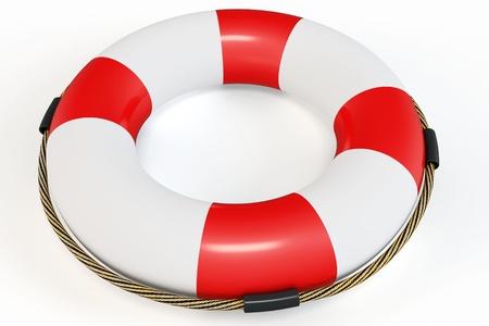 lifebelt: 3d Red lifebelt  illustration on white background
