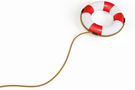 3D Red Rettungsring Abbildung auf weißem Hintergrund