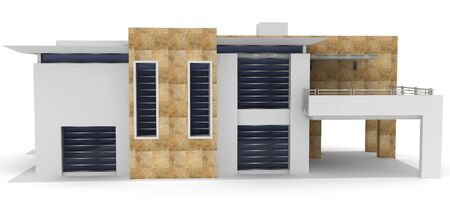 3d house generic rendered  on white  background photo