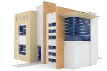 architectural rendering: 3d house generic rendered  on white  background Stock Photo