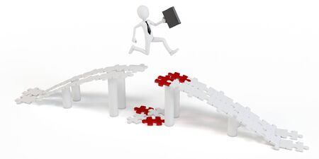 business jump: 3d businessman  jump over puzzle bridge on white background
