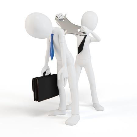 manipulation: 3d man windup businessman on white background