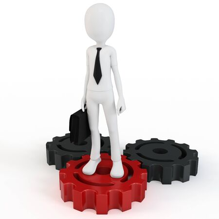 3d man businessman with gears on white background photo