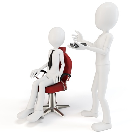 cartoon hairdresser: 3d man at barber shop on white background
