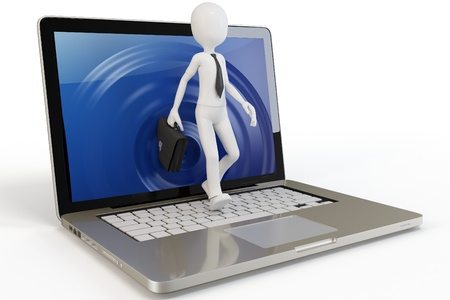 3d person: 3d man businessman walking out of laptop on white background