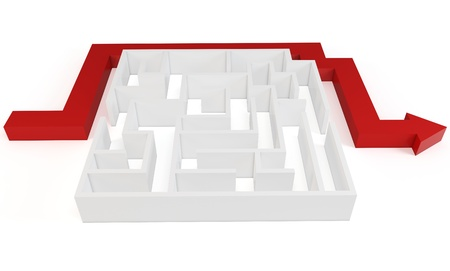 unstoppable: 3d clever solved maze puzzle on white background Stock Photo