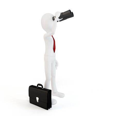 3d man businessman with binoculars on white background photo
