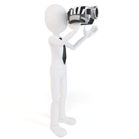 directing: 3d man with video camera on white background