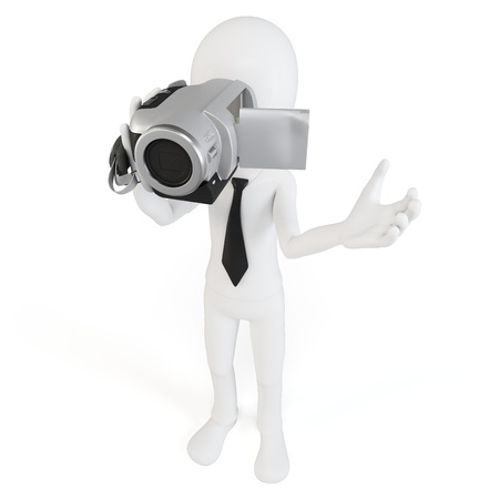 video shooting: 3d man with video camera on white background