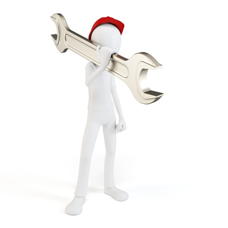 3d man engineer with wrench on white photo