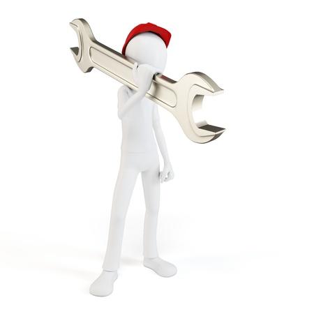 herramientas de mecánica: Ingeniero 3d hombre con la llave en blanco