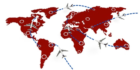 3d global flight routes concept on white background photo