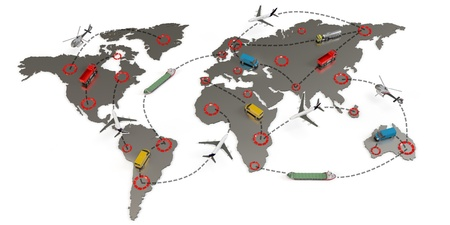 air cargo: 3d global transport routes concept on white background