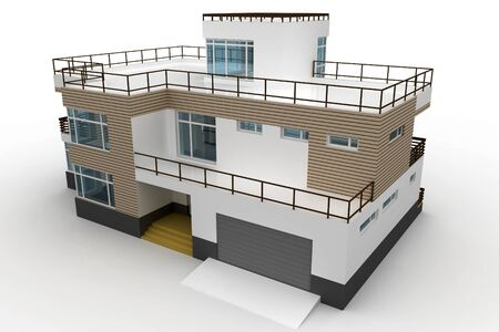 architecture model: 3d house generic rendered  on white  background Stock Photo