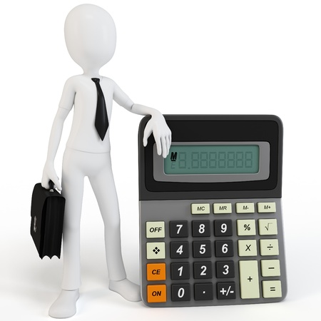 small business computer: 3d man businessman with calculator on white background Stock Photo