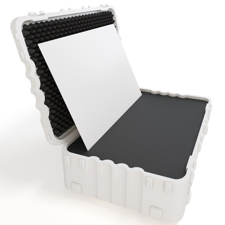 business case: 3d rugged case with blank board on white background