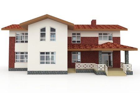 facade and house: 3d house generic rendered  on white  background Stock Photo