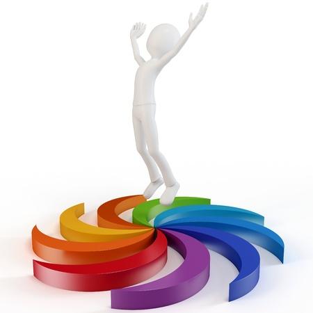 danza moderna: 3d hombre saltando de alegría en el fondo blanco