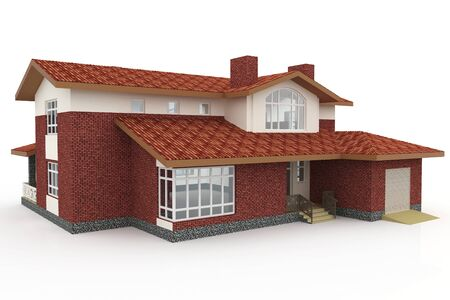 3d house generic rendered  on white  background Stock Photo
