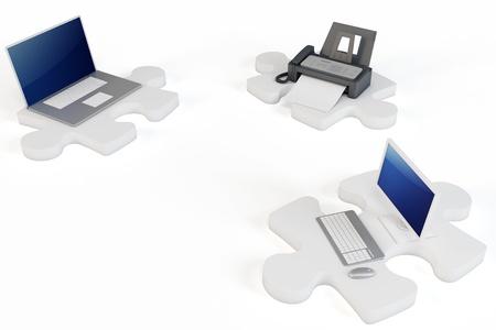computer printer: 3d wifi computer printer concept  on white background Stock Photo