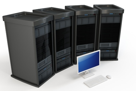 3d servers with computer terminal on white background Stock Photo