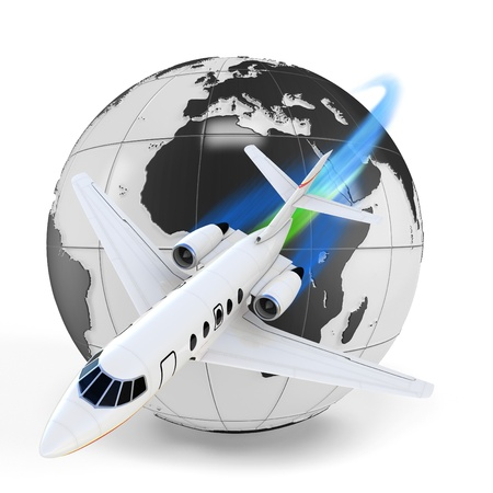 3d airplane jet with earth globe on white background photo