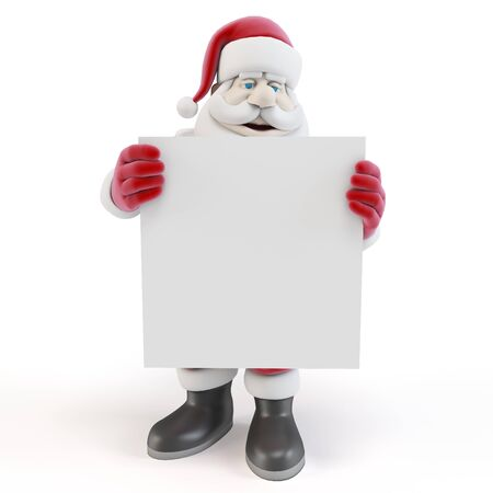 3d man santa with blank list on white background photo
