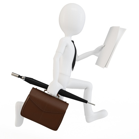 3d man businessman racing to work on white background photo
