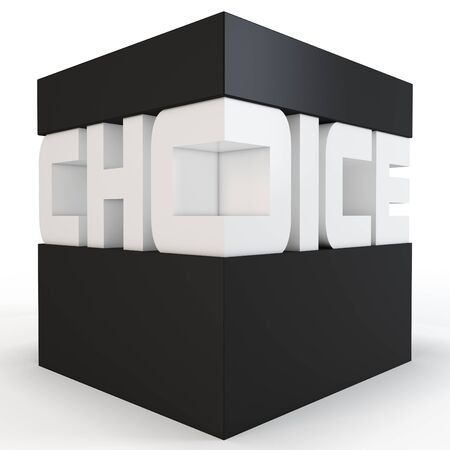 customized: 3d cube with choice text on white background