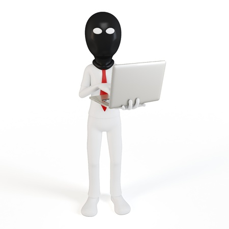 3d man hacker with laptop on white background photo