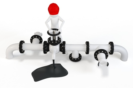 3d man operating an oil valve on white background photo