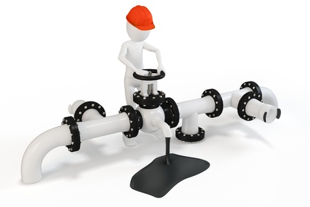 natural gas production: 3d man operating an oil valve on white background