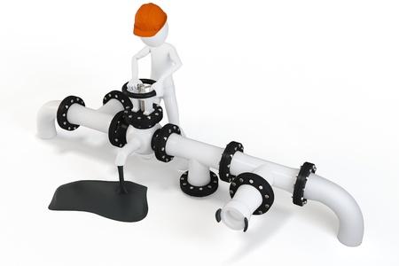 oil transportation: 3d man operating an oil valve on white background